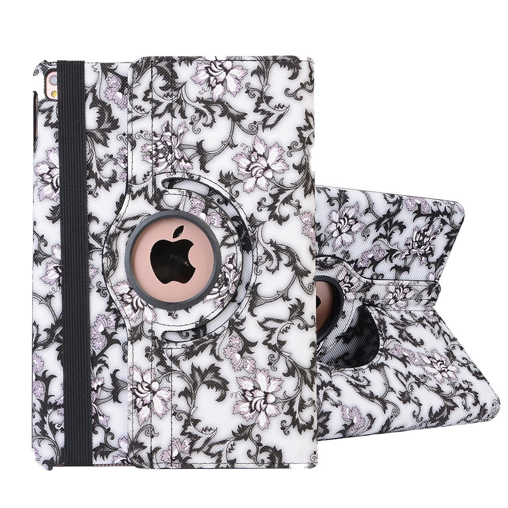 iPad 9.7 inch 2018 2017/iPad Air/iPad Air 2 Case, SorbSun PU Leather 360 Degree Rotating Floral Style Folio Smart Stand Protective Case Cover with Auto Sleep/Wake Up Function, Black by SorbSun