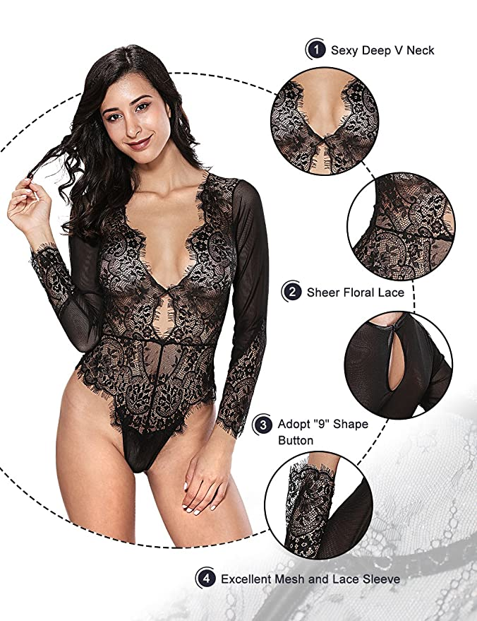 ee1eb2f34c Women Sexy Lingerie Long Sleeve Bodysuit Lace Deep V Bodysuit Lingerie  Sheer Teddy Lingerie at Amazon Women s Clothing store