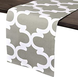 Crabtree Collection Deluxe Cotton Gray Trellis Table Runners Bright Colors for Kitchens and Dining Rooms -
