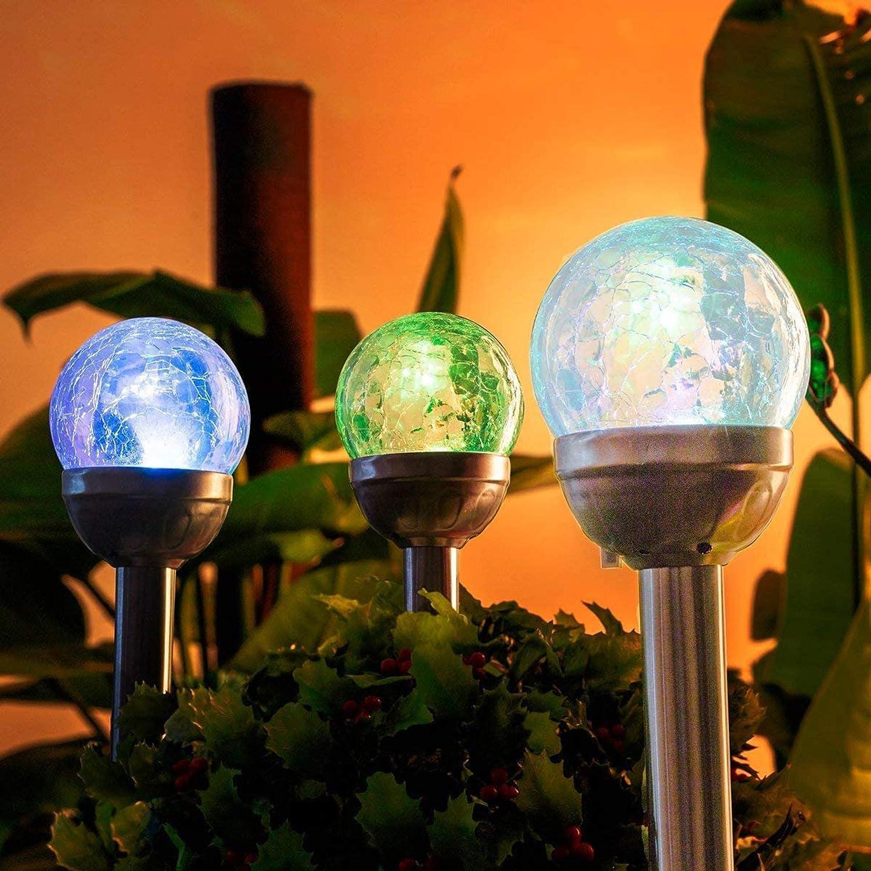 LED Edelstahl Wegebeleuchtung im 3er SET Edelstahl Solarleuchten mit Erdspieß