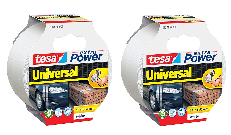 50m x 50mm UV-best/ändig wei/ß beschriftbar wasserfest 2er Pack tesa Reparaturband extra Power Universal