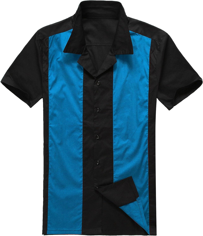 Moda para Hombre Casual Camisas de Vestido Cowboy Azul Manga Corta Vendimia: Amazon.es: Ropa y accesorios