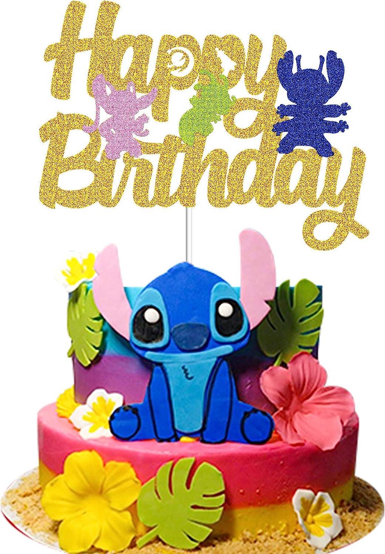 Lilo /& Stitch Theme Birthday Party Decoration Supplies LYNHEVA Gold Glitter Lilo /& Stitch Happy Birthday Cake Topper Lilo and Stitch Cake Decor Kids Bday Party Favor