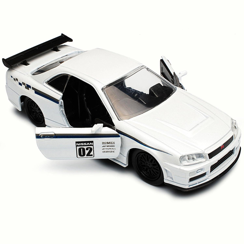 Nissan Skyline R34 GT-R Weiss 1998-2002 1//32 Jada Modell Auto mit oder ohne in..
