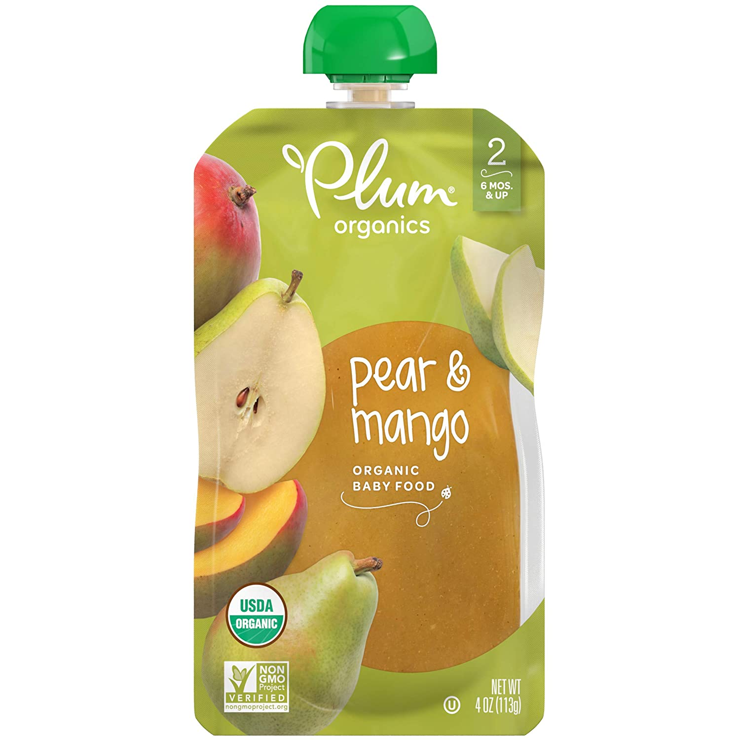 Plum Organics Stage 2, Organic Baby Food, Pear and Mango, 4 Ounce pouches (Pack of 12)