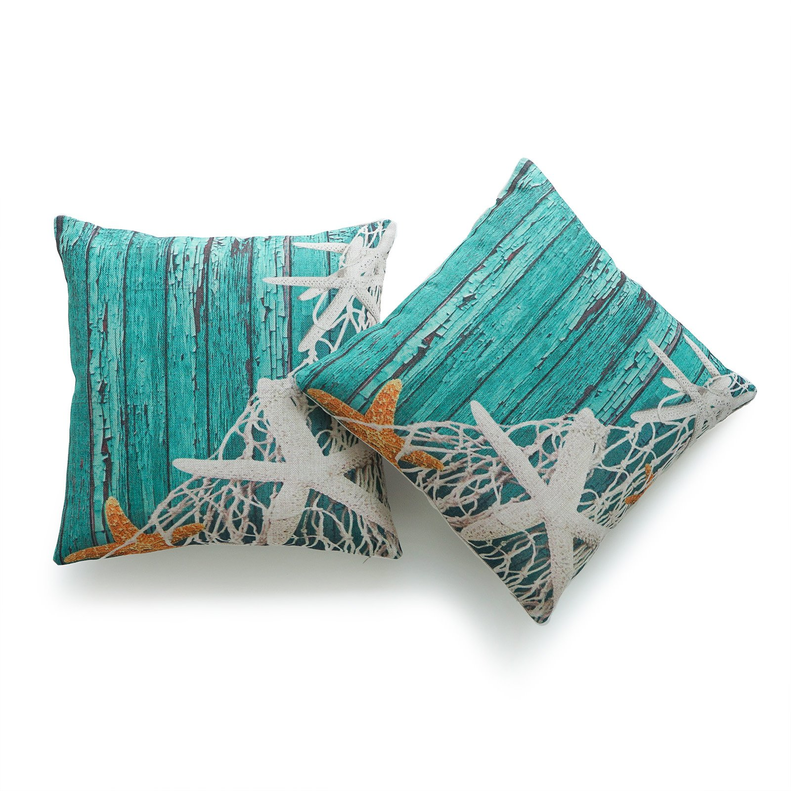 Hofdeco Decorative Throw Pillow Cover HEAVY WEIGHT Cotton Linen Vintage Sea Life Starfish Netting Beach Wood 18''x18'' 45cm x 45cm Set of 2