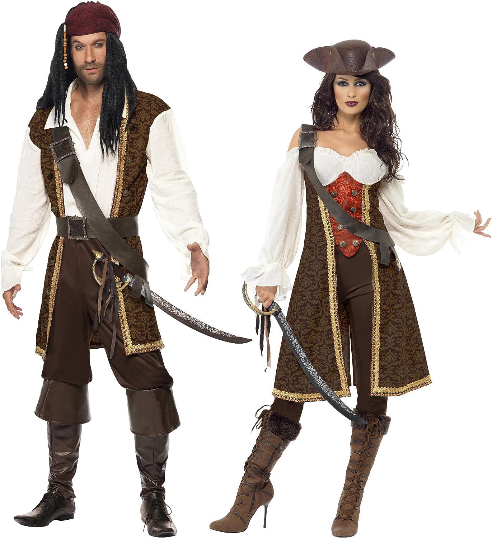 Da Uomo Pirata Costume Set Nero Barba Cappello SPADA CAPITANO Carribean Costume