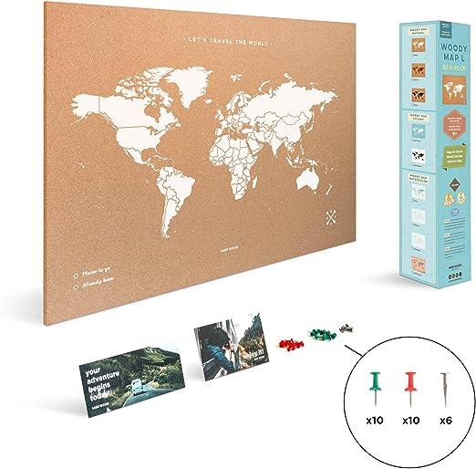 Miss Wood Map L, Mapa del Mundo de Corcho, 45 x 60 cm, Natural ...