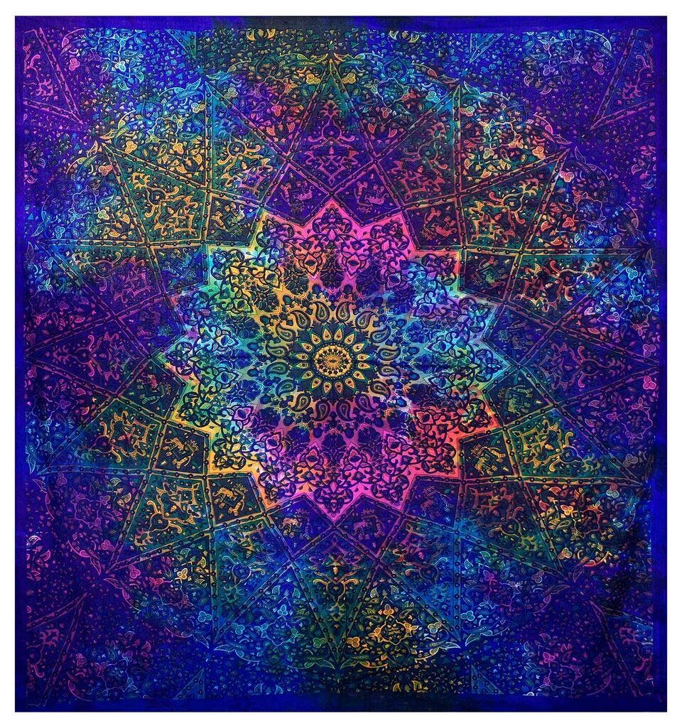 GLOBUS CHOICE INC. Multicolor Blue Tie Dye Bohemian Tapestry Elephant Star Mandala Tapestry Tapestry Wall Hanging Boho Tapestry Hippie Hippy Tapestry Beach Curtain Coverlet 90'' x 84''