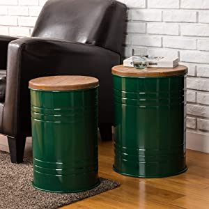 Glitzhome Rustic Storage Ottoman Seat Stool, Farmhouse End Table, Galvanized Metal Accent Side Table Toy Box Bin with Round Wood Lid for Living Room Furniture, Nesting Pieces Two, Hunter Green