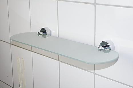 Mensola Bagno Da Incollo.Mensola In Vetro Della Serie Geco Satinato Materiale Di Fissaggio Incluso Da Incollare