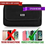 Rugged Heavy Duty Nylon Canvas Horizontal EXTRA LARGE Oversize Belt Clip Case Pouch Holster for Apple iPhone SE A1662 iPhone 5 / 5s iPhone 5c [PERFECT FITS WITH OTTERBOX DEFENDER ON IT ]