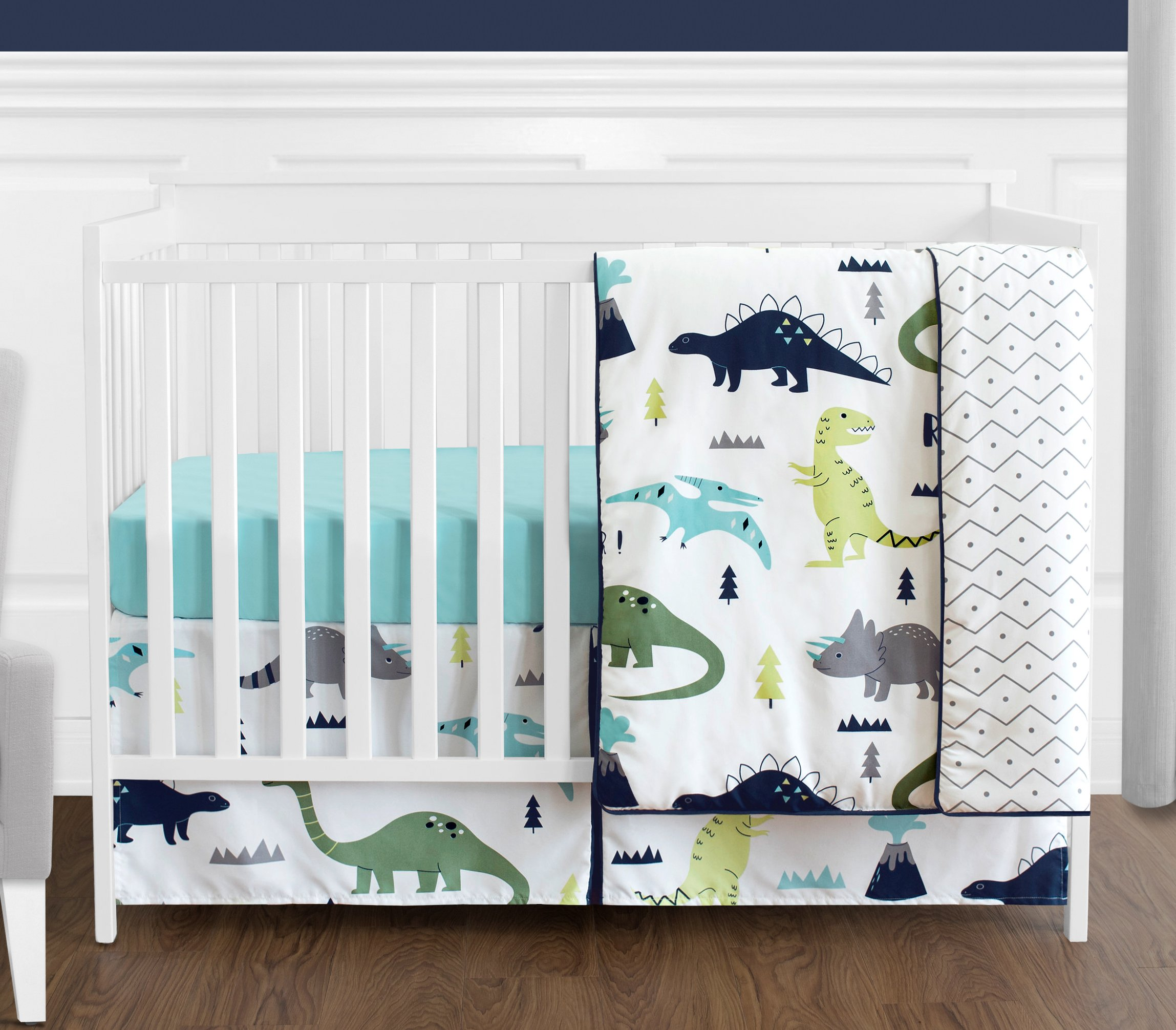 Navy Blue And Green Modern Dinosaur Baby Boys Or Girls 4