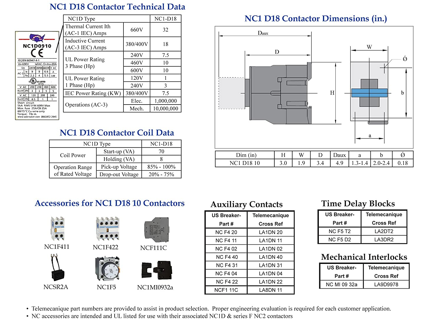 - New Direct Replacement LC1 D18 10-240V Coil UL Certified! Telemecanique LC1D1810 U7 Contactor