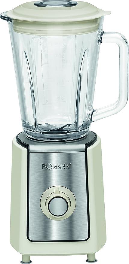 Bomann UM 1569 CB Batidora de Vaso, Jarra Cristal 1.5 litros, 2 velocidades +