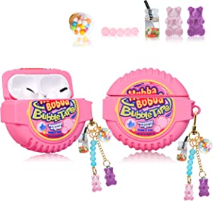 Lupct for Airpod Pro (3rd Gen) Silicone Case, Soft Cartoon Fashion Cute Food Design Air Pods Cover Kids Girls Women Funny Headphone Fun Cool Kawaii Keychain Cases for AirPods Pro (Popo Candy Chain)