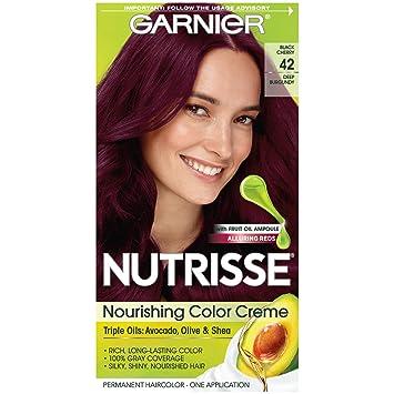 Garnier Nutrisse Nourishing Hair Color Creme, 42 Deep Burgundy (Black  Cherry) (Packaging May Vary)