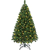 Yaheetech 4.5ft Prelit Artificial Hinged Christmas Pine Tree Prelighted Holiday Xmas Tree for Home Party Decoration with…