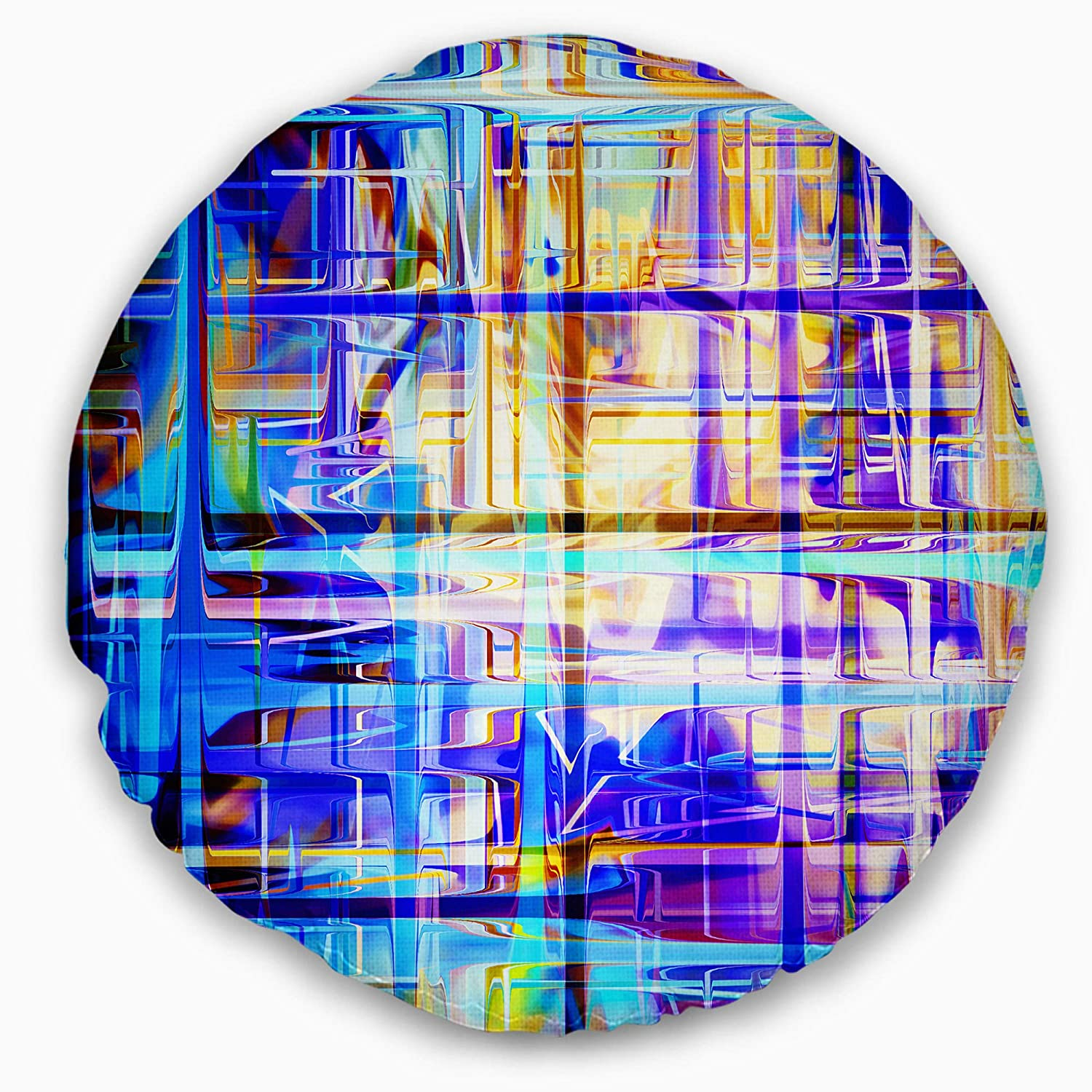Sofa Throw Pillow 20 Designart CU6680-20-20-C Blue Grid Abstract Round Cushion Cover for Living Room