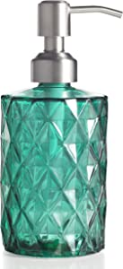 Easy-Tang Soap Dispenser for Kitchen, Bathroom - Refillable Wash Hand Liquid Clear Glass Bottle, Colored Jar with Stainless Steel Pump, Ideal for Dish Detergent, Essential Oil, Shampoo Lotion (Green)