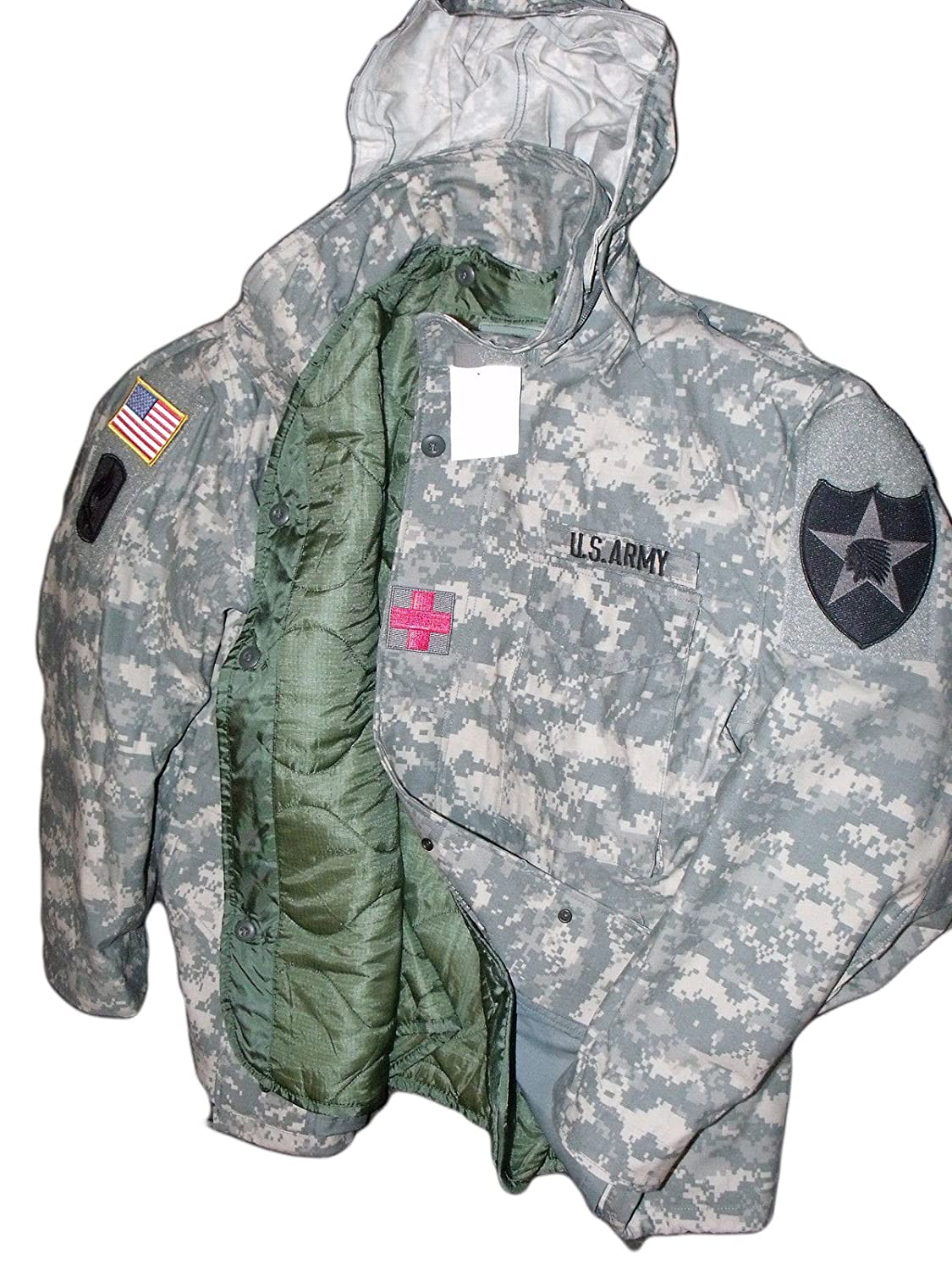 US Army Military GI M-65 ACU Camo Field Coat Jacket + Liner + Patches