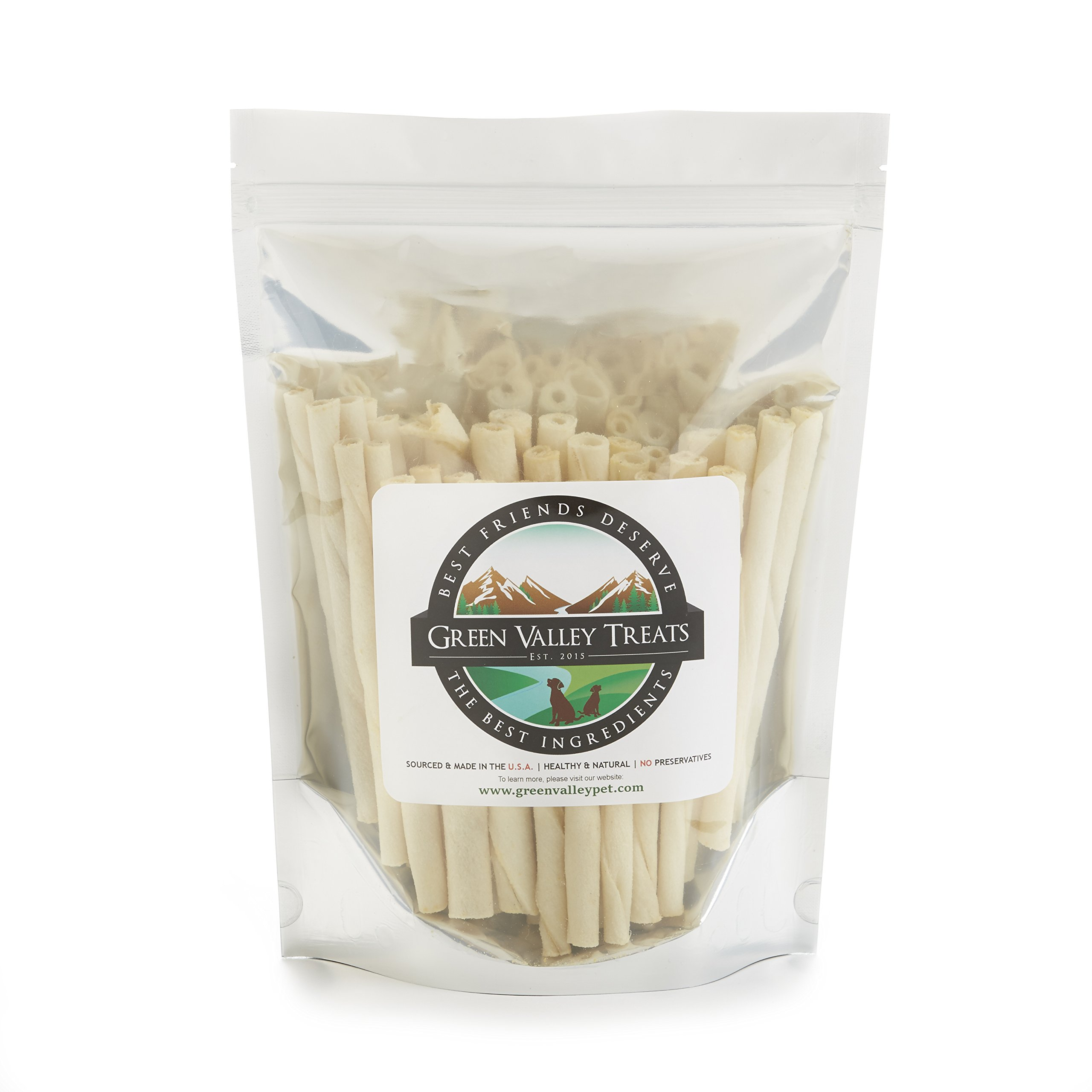 Green Valley Treats American Rawhide Sticks for Toy Dogs, 2.5 inch All Natural Twists Made in USA Only (30 Count)