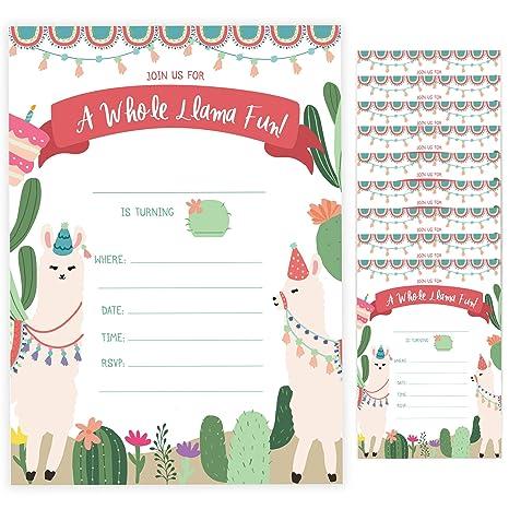 Amazon.com: Llama - Tarjetas de invitación para cumpleaños ...