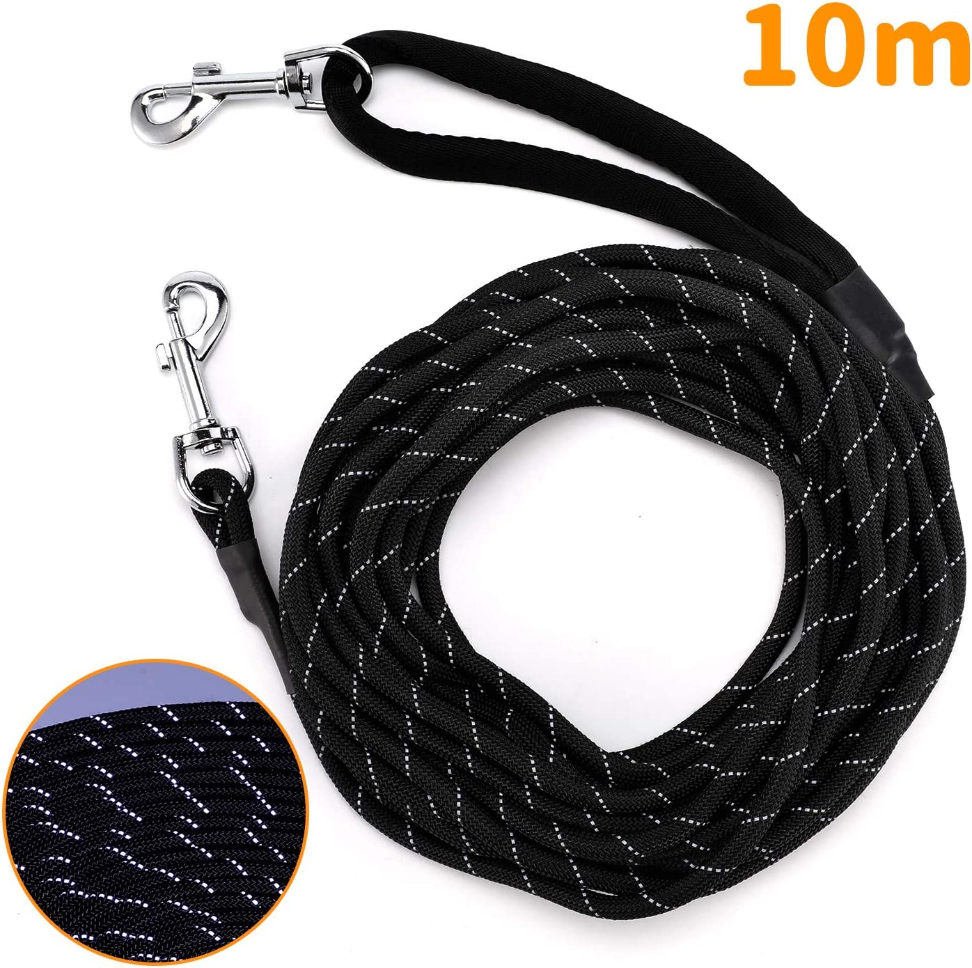 PETTOM Dog Training Lead Long Dog Line 10m 15m Extra Long Heave Duty Reflective Dog Leash for Small Medium Large Dogs Tracking Recall Training Outdoor S: 5m // 16ft, Black