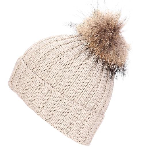 Maoko Womens Winter Knit Pom Pom Beanie Hats- Slouchy Winter Ski Hat ... 467fd297e9d