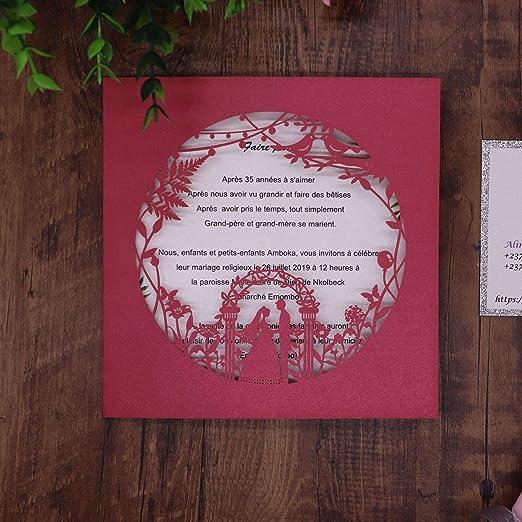 EVEYYQJ Carta de invitación Hueca de Papel Perla Azul Oscuro ...