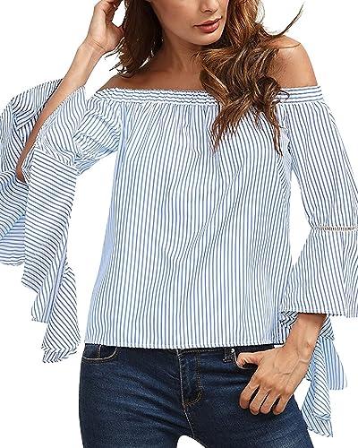 StyleDome Mujer Camiseta Mangas Largas Blusa Rayas Playa Cuello Barco Elegante