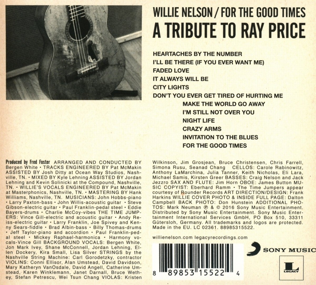 Willie nelson for the good times a tribute to ray price amazon willie nelson for the good times a tribute to ray price amazon music stopboris Images