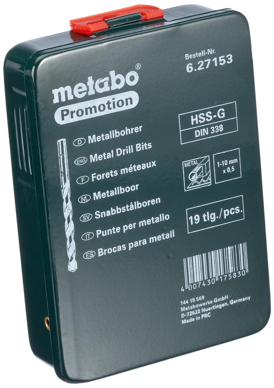 Metabo 627153000 - Juego de brocas para metal en estuche (acero rápido, 19 unidades)