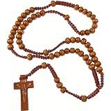 Bois clair bois brun long cordon chapelet collier de perles de 61cm