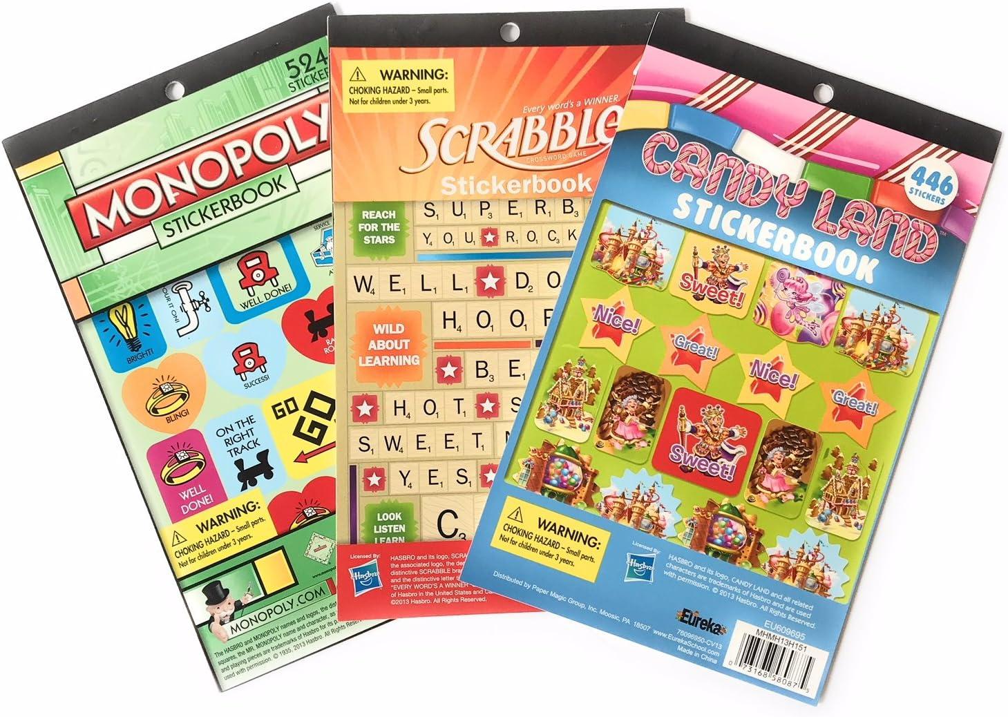 Paquete de pegatinas con diseño de Monopoly y Scrabble de Candy Land – muy bonito juego de pegatinas de juego de tablas nostálgicas – más de 1500 pegatinas.: Amazon.es: Oficina y papelería