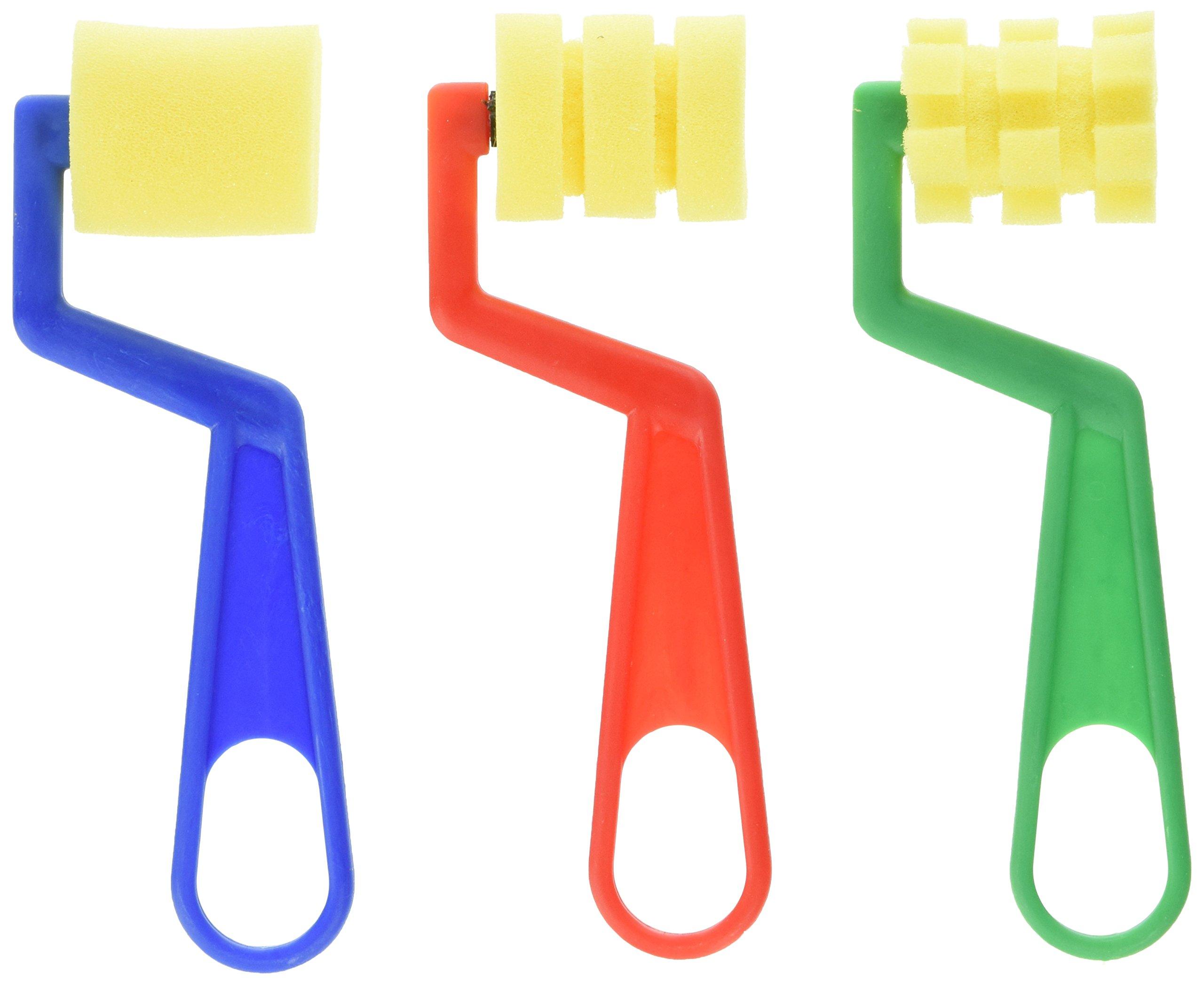 School Smart Small Foam Design Rollers - 1 1/2 inch - Set of 12 - Assorted Colors by School Smart