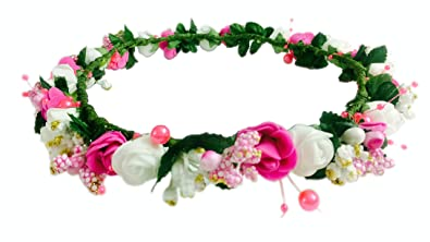 b7623158 Loops n knots ® Pearl Princess Floral Pink Tiara Crown For Girls:  Amazon.in: Jewellery