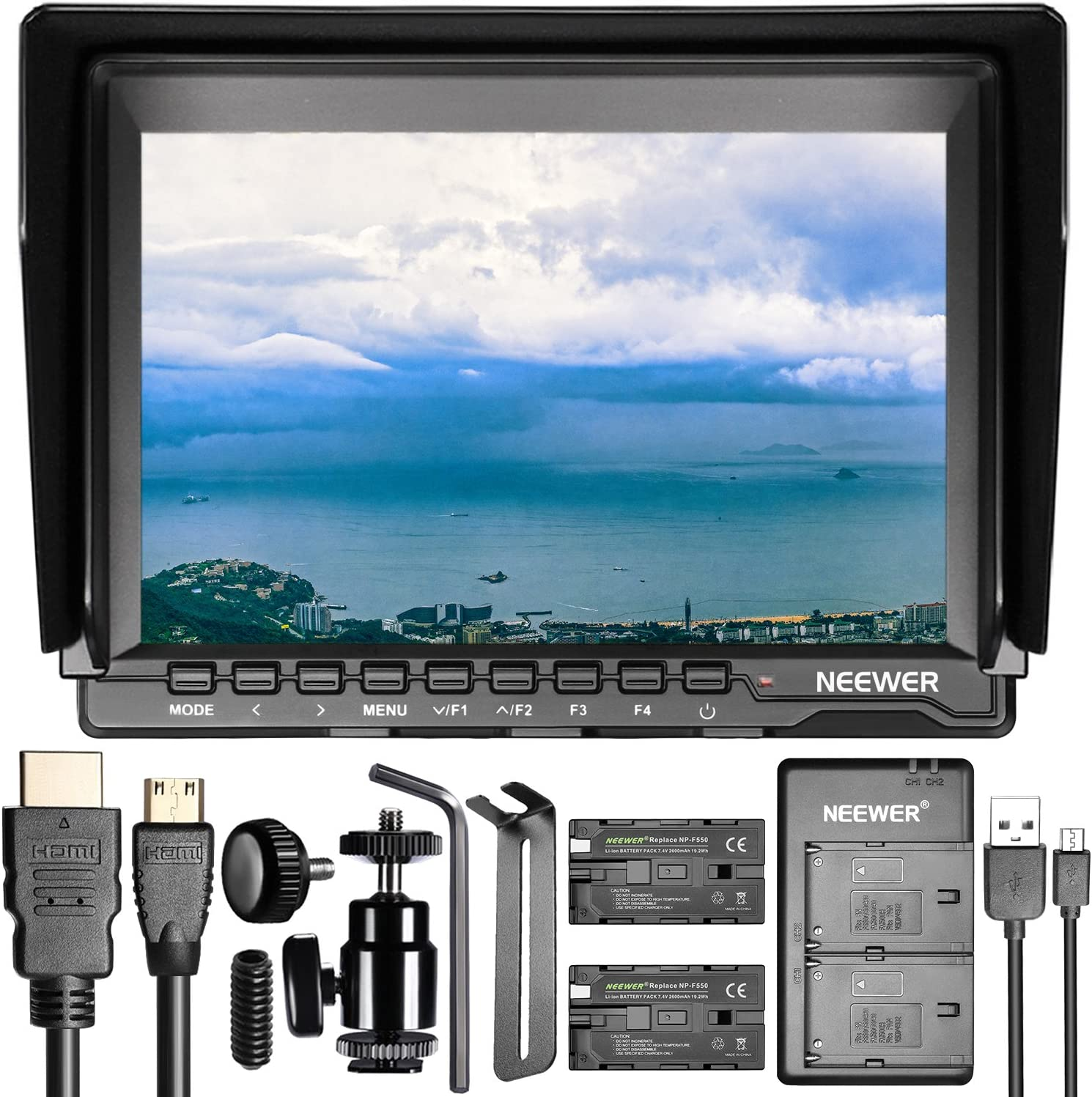 7 inches Camera Field Monitor Kit Neewer NW759 1280x800 IPS Screen Monitor with Dual USB Charger and 2 Packs LP-E6 Replacement Li-ion Battery for Nikon Sony Canon Olympus Pentax Panasonic Cameras C