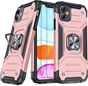 JAME Designed for iPhone 11 Case with Screen Protector 2PCS, Military-Grade Drop Protection, Protective Phone Cases, with Ring Kickstand Shockproof Bumper Case for iPhone 11 6.1 Inch Rose Gold