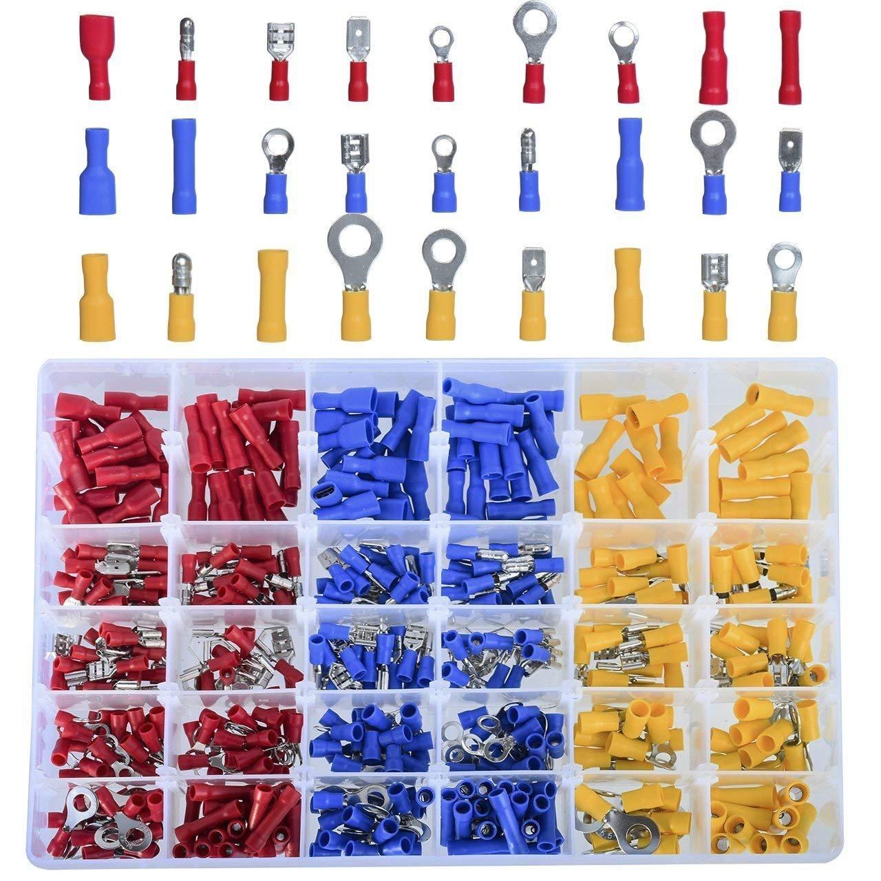 Tamlltide 480 stü cke Crimp-anschlü sse, Isolierte Elektrische Steckverbinder Flachstecker Crimp-anschluss Set Stoß verbinder Kabelschuh Sortiment Blau Rot Gelb