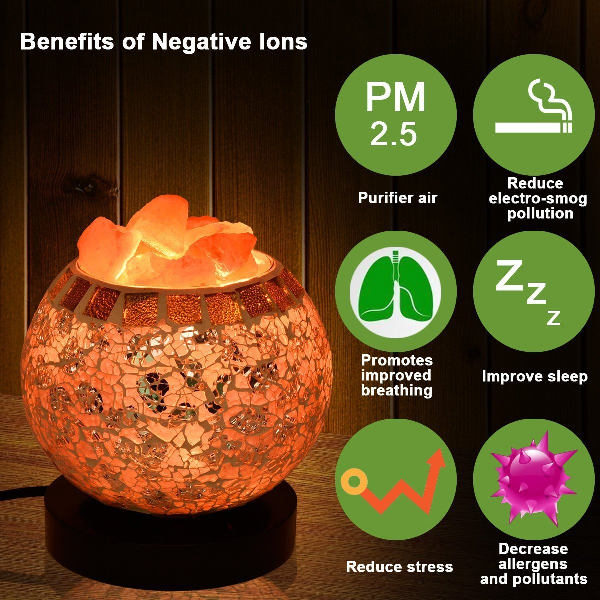 Himalayan Salt Lamp, Natural Crystal Salt Lamp Salt Chunks in Glass Bowl with Wood Base, Bulb and Dimmer Control for Christmas Gift and Home Decorations. [energy class a+++] by COOWOO (Image #4)