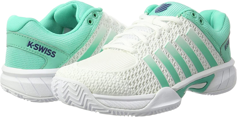 K-Swiss Performance Express Light HB, Zapatillas de Tenis para Mujer, Blanco (White/Electric Green/Blue Ribbon), 37.5 EU: Amazon.es: Zapatos y complementos