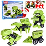 DIY Take Apart Transforming Stem Electric Assembly Mechanics Robot, Drilling Machine, Dinosaur, Insect Educational Toy Collection - 64 pcs
