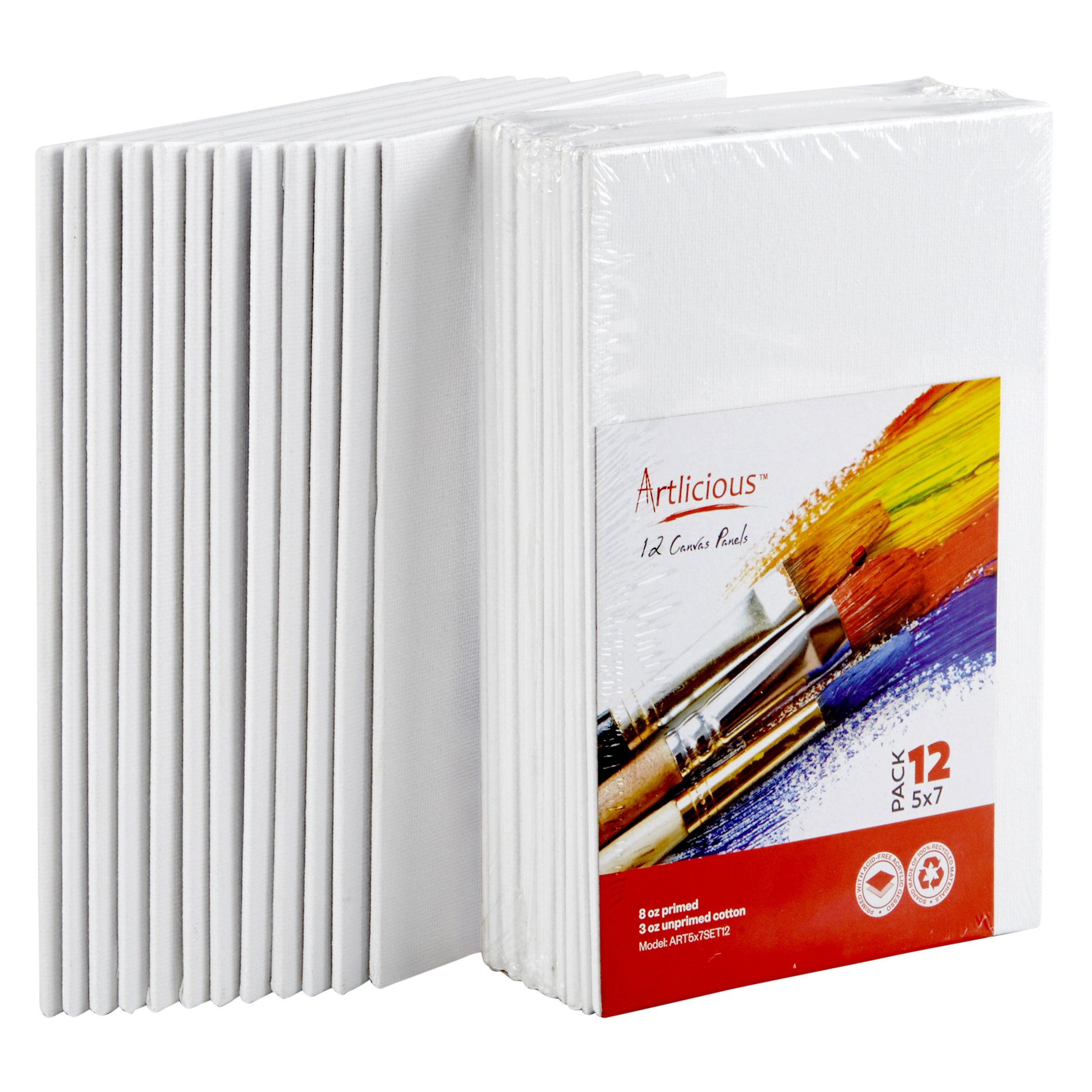 Artlicious Canvas Panels 24 Pack - 5''X7'' Super Value Pack- Artist Canvas Boards for Painting