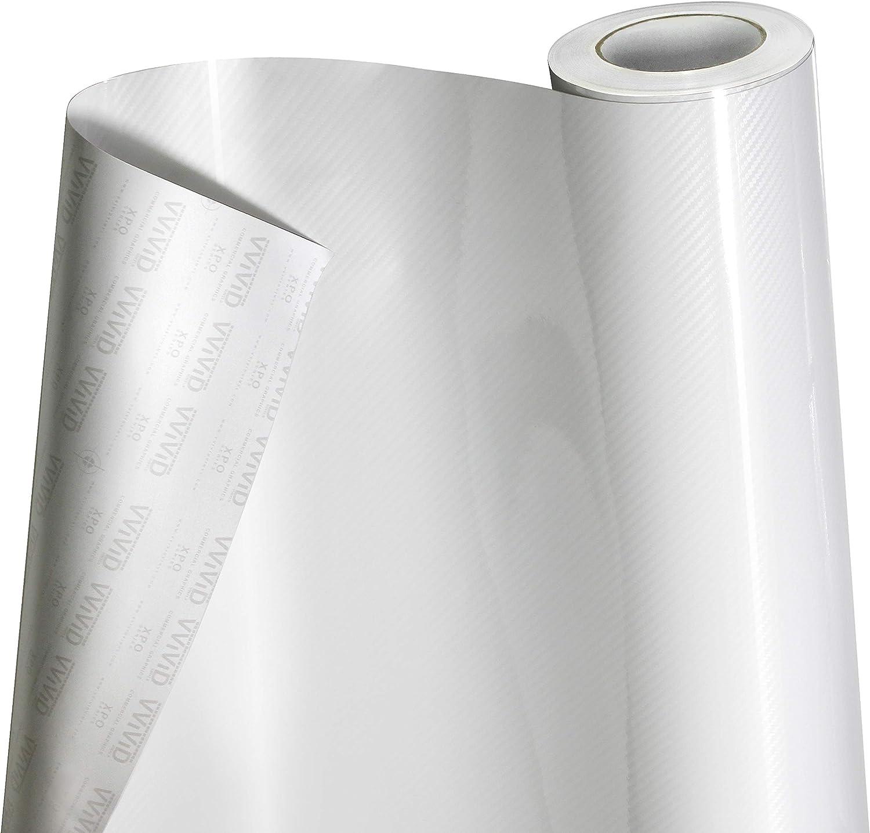 VViViD 5D High Gloss White Epoxy Carbon Fiber Automotive Vinyl Wrap Film Roll 2 Foot by 5 Foot