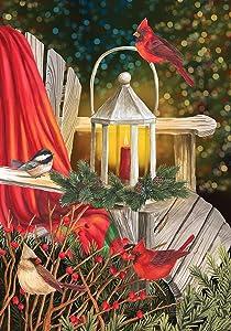 Briarwood Lane Cardinal Lantern Christmas Garden Flag Greenery Adirondack Chair 12.5