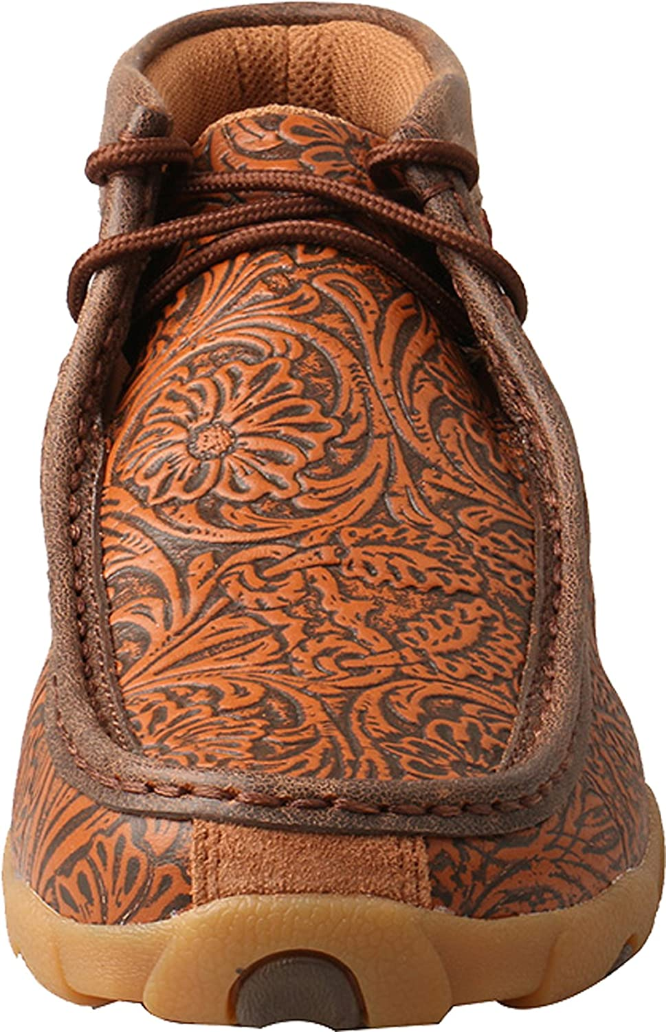 Twisted X Women's Leather Lace-up Rubber Sole Driving Moccasins - Brown/Turquoise B07FPM9MP2 7.5 M US|Tan / Tooled