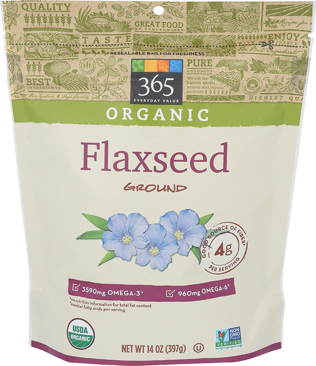 365 by Whole Foods Market, Organic Flaxseed, Ground, 14 Ounce