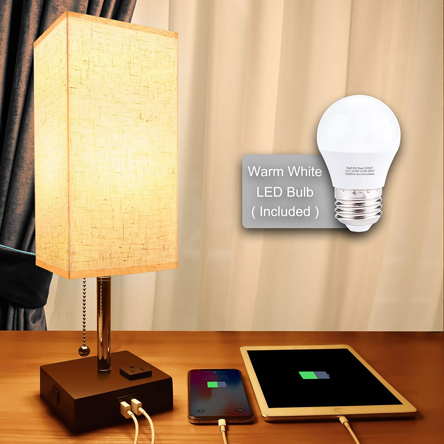 USB Bedside Table Lamp,Cotanic Minimalist Bedside Desk Lamp with Charging Port,Lamps for Bedrooms,Fabric Shade Ambient Light,Modern Nightstand Lamp with Pull Chain