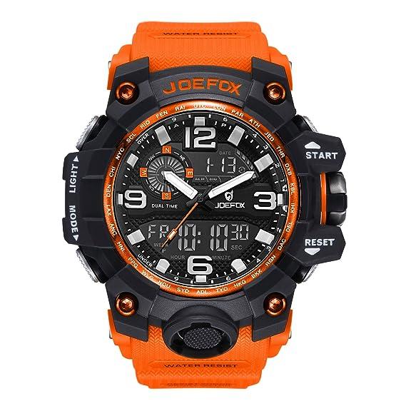 Reloj de Pulsera Digital para Hombre, analógico Deportivo Militar, cronógrafo Digital, Correa de Resina LED Resistente al Agua 56 mm, Color Naranja: ...